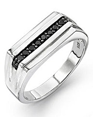 Gents Silver & Black CZ Ring