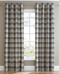 Kindle Plaid Check Eyelet Lined Curtains