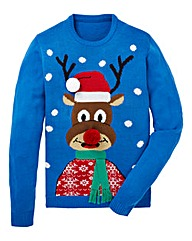 Label J Reindeer Christmas Jumper Reg