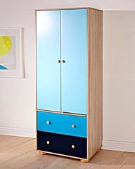 Colourway Two Door Wardrobe Blue