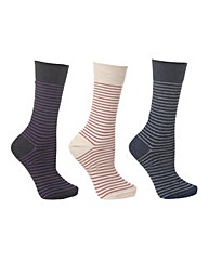 Cosyfeet Mens Cotton Fine Stripe Sock