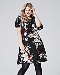 Black/Red Floral Tea Dress