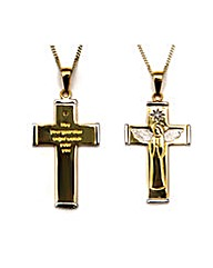 9ct Gold Guardian Angel Message Cross