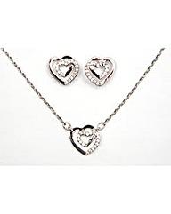 Espree Cubic Zirconia Heart Pendant Set