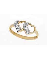 9ct Gold Cubic Zirconia Twin Heart Ring