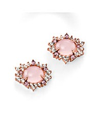 Rose Quartz & Cubic Zirconia Earring