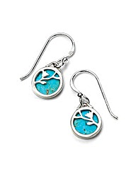 Turquoise Flower Disc Earrings