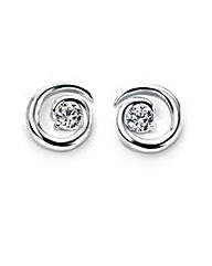 Cubic Zirconia Spiral Stud Earrings