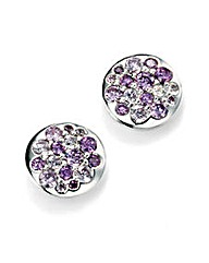 Purple Cubic Zirconia Disc Earring
