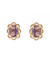 9ct Yellow Gold Amethyst Earrings