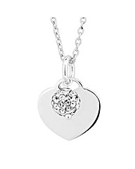 Simply Silver Crystal Ball Heart Pendant