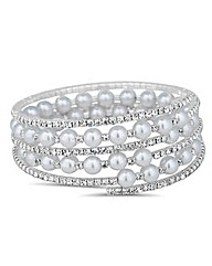 Jon Richard Pearl Diamante Coil Bracelet