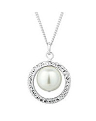 Simply Silver Pearl Surround Necklace