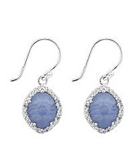 Simply Silver Blue Agate Drop Earring