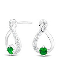 Simply Silver Green Loop Earring