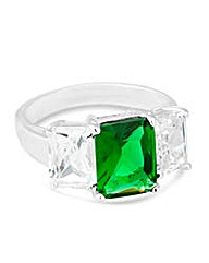 Simply Silver Green Triple Stone Ring