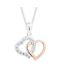 Simply Silver Two Tone Heart Necklace