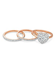 Simply Silver Rose Gold Heart Ring Set