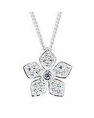 Simply Silver Embellished Flower Pendant