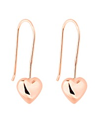 Simply Silver Rose Gold Heart Earring