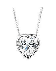 Simply Silver Heart Drop Necklace