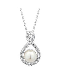 Jon Richard Pearl Crystal Swirl Necklace
