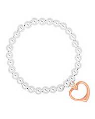 Simply Silver Rose Gold Heart Bracelet