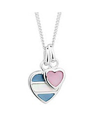 Simply Silver Pearl Double Heart Pendant