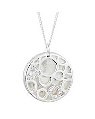 Simply Silver Pearl Disc Drop Necklace