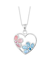 Simply Silver Flower Open Heart Necklace