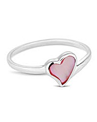 Simply Silver Pink Pearl Heart Ring