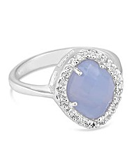 Simply Silver Blue Lace Agate Ring