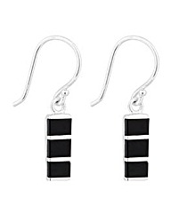 Simply Silver Onyx Bar Drop Earring