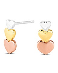 Simply Silver Triple Heart Stud Earring