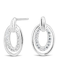 Simply Silver Crystal Oval Stud Earring