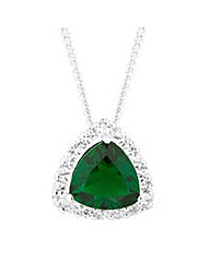 Simply Silver Green Triangular Necklace