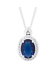 Simply Silver Oval Blue Necklace