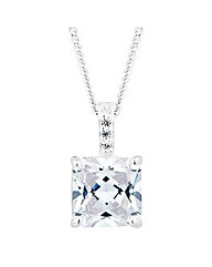 Simply Silver Square Drop Necklace