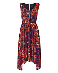 Orange/Pink Print Dipped Hem Maxi Dress