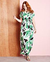 Green Print Kimono Sleeve Maxi Dress