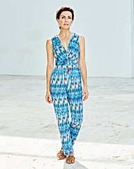 Print Wrap Front Jumpsuit