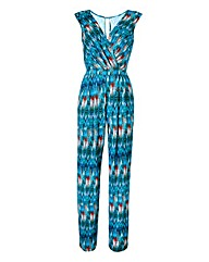 Blue Print Wrap Front Jumpsuit
