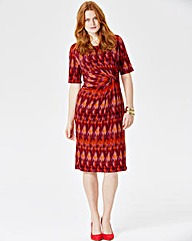 Orange Zigzag Print Twist Knot Dress