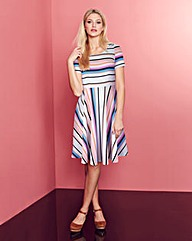 Multi-Stripe Jersey Skater Dress