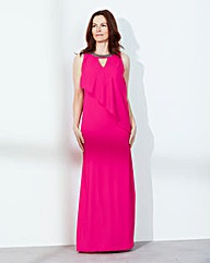 Waterfall Bead-Neck Maxi Dress