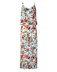 Layer Top Print Maxi Dress