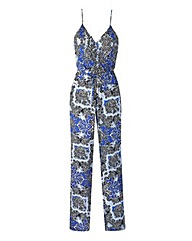 Blue Print Strappy Wrap-Neck Jumpsuit