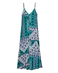 Paisley Print Trapeze Maxi Dress
