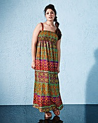 Print Shirred Maxi Dress - L52
