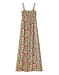 Leaf Print Shirred Maxi Dress - L52